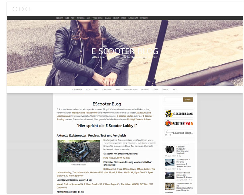 EScooter Blog Screenshot